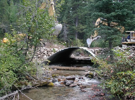 A forest road stream crossing culvert.