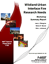 Wildland-Urban Interface Fire Research Needs, Workshop Summary Report cover.